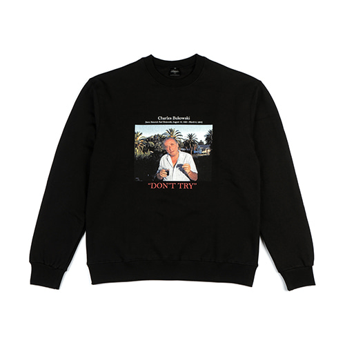 'Charles Bukowski' Crew neck Sweater Black